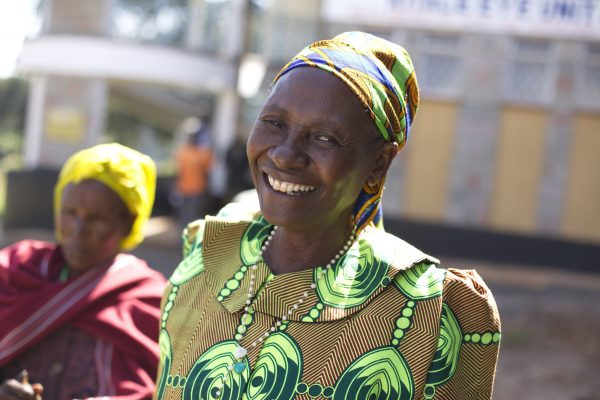 Woman smiling in Africa.