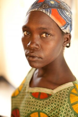 African woman with bright brown eyes